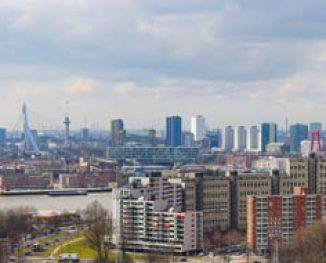 Rotterdam gezien van de Erasmus universiteit
