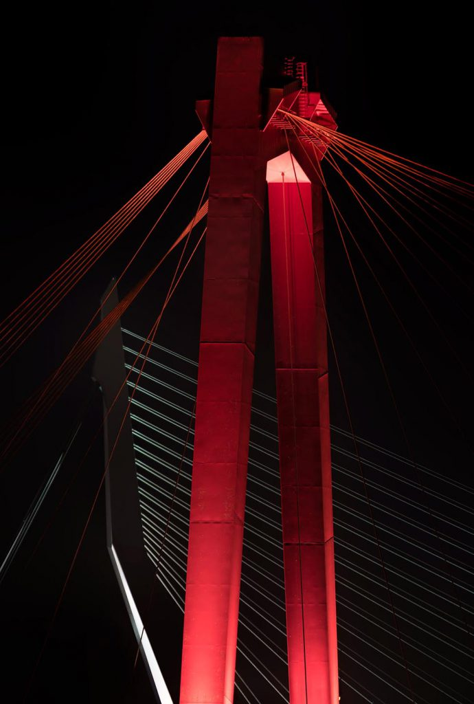 Willemsbrug in Rotterdam bij nacht